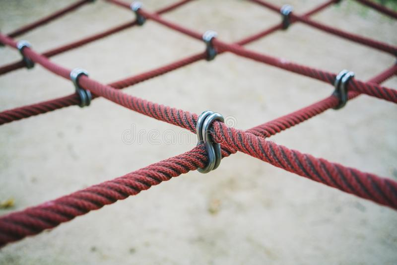 Cross Over Rope Connector or Rope Fittings and Connectors  for Playground  Outdoor Play Equipment.  royalty free stock image