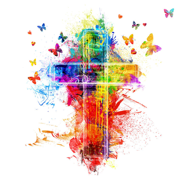 Cross paint splatters. A cross created by colorful paint splatters royalty free stock photos