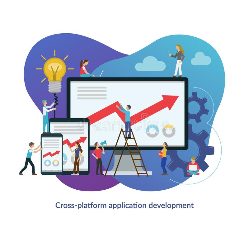 Cross platform app development process concept. Flat design vector illustration vector illustration