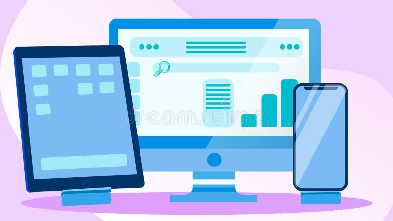 Cross Platform Development Vector Illustration. Web Design, Modern Website Engineering. Digital Devices with UI Concept. Webpage Adaptive, Responsive Interface royalty free illustration