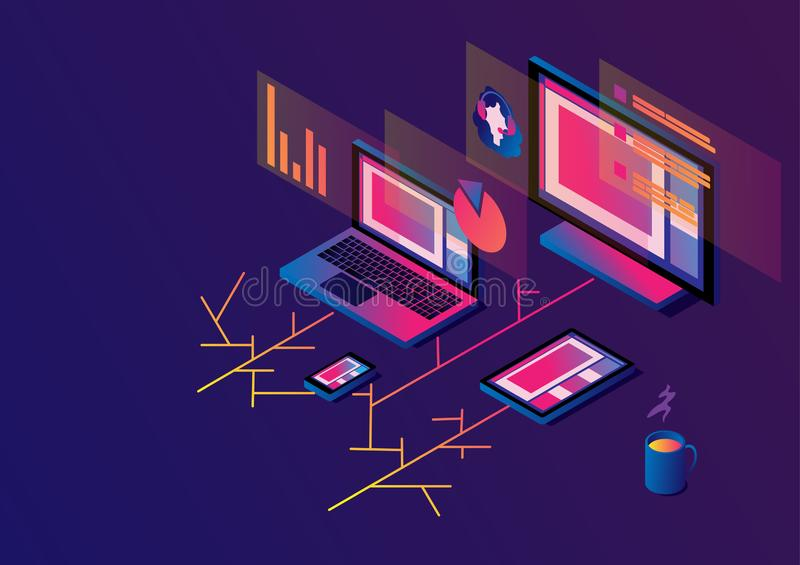 Cross-platform isometric web content. Devices - smartphone, tablet, laptop and desktop computer with open web pages in a. Browser. Girl operator and data on the stock illustration
