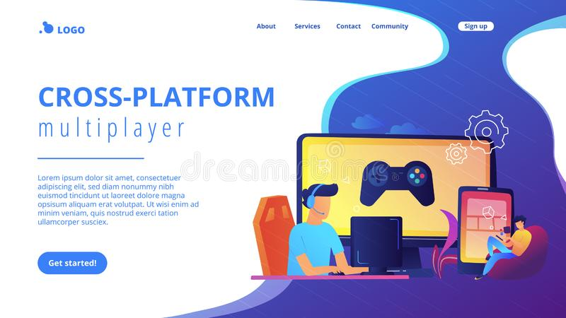 Cross-platform play concept landing page. Gamers play video game on different hardware platforms. Cross-platform play, cross-play and cross-platform gaming stock illustration