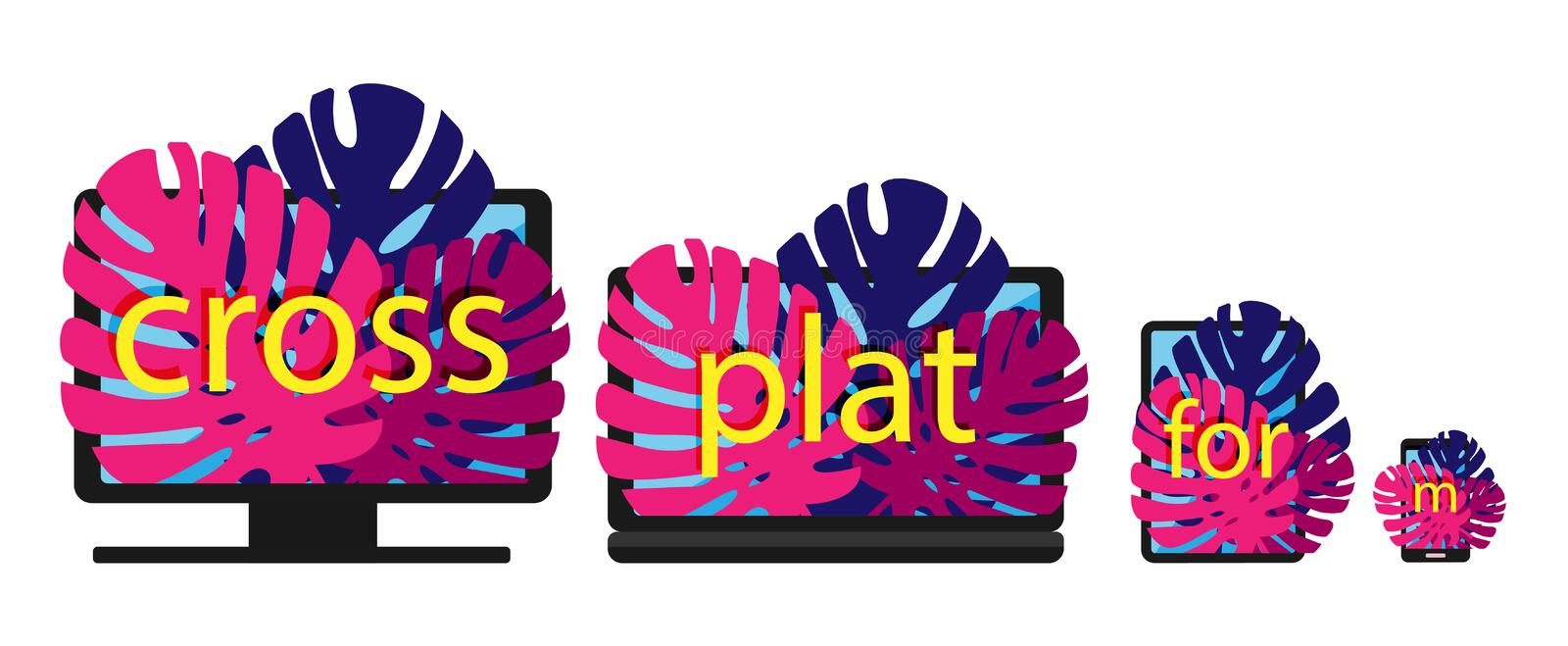 Cross-platform web content. Devices - smartphone, tablet, laptop and desktop computer with letters and leaves growing. From the screens. Flat vector stock illustration