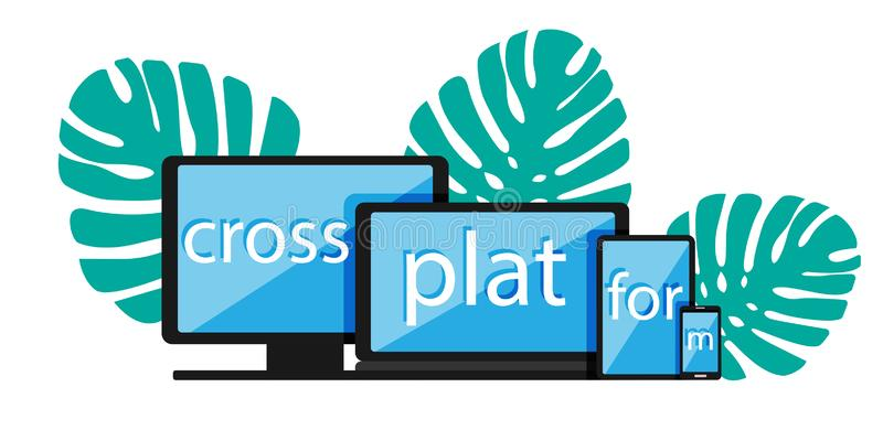 Cross-platform web content. Devices - smartphone, tablet, laptop and desktop computer with letters and a plant on the. Background. Flat vector illustration royalty free illustration