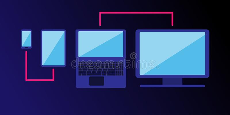 Cross-platform web content. Devices - a smartphone, tablet, laptop and desktop computer with a line passing through them. Combining. Flat vector illustration stock illustration