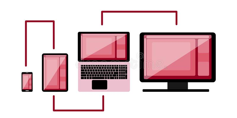 Cross-platform web content. Devices - smartphone, tablet, laptop and desktop computer with open web pages in a browser. And a place for text. Flat vector stock illustration
