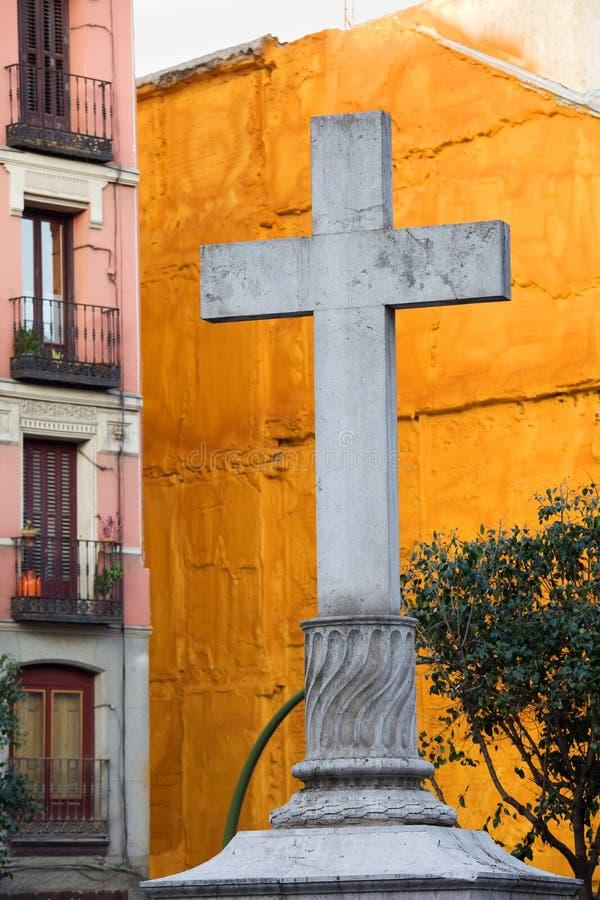 Download Cross At The Plaza De Puerta Cerrada In Madrid Stock Image - Image of sights, cerrada: 24743511