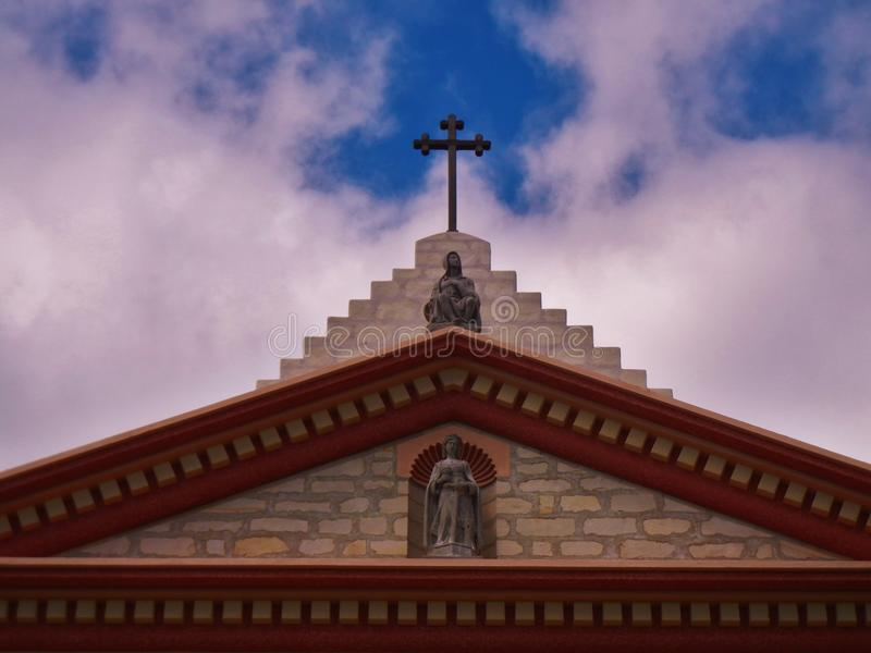 The Cross Points the Way. The rooftop of the Mission, Santa Barbara, California stock photo