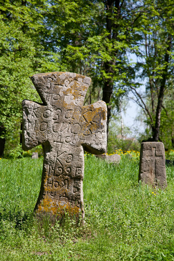 Cross on the prehistorical grave royalty free stock photo
