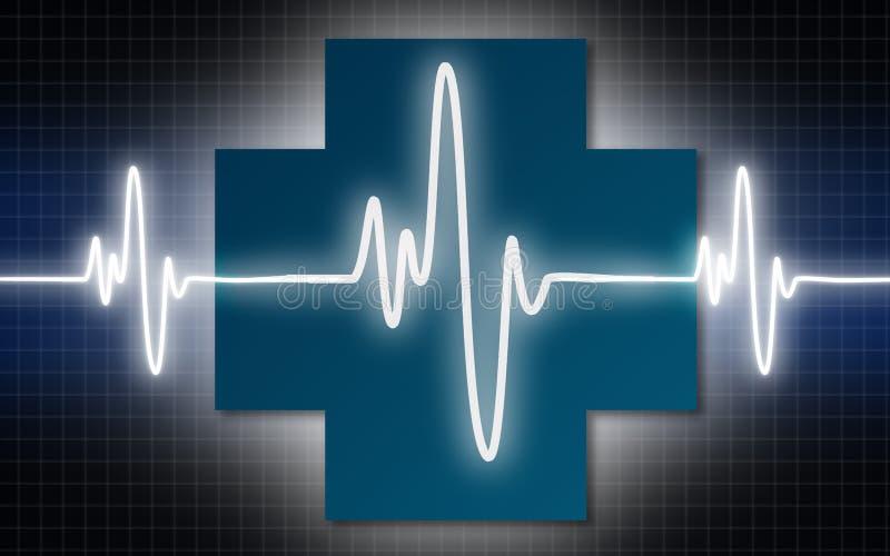 Cross with pulse cardiac heart beat. Cross with pulse cardiac, 3D rendering vector illustration