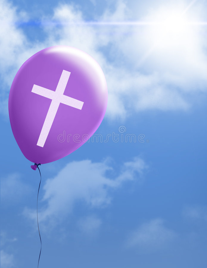 Cross on purple balloon stock illustration