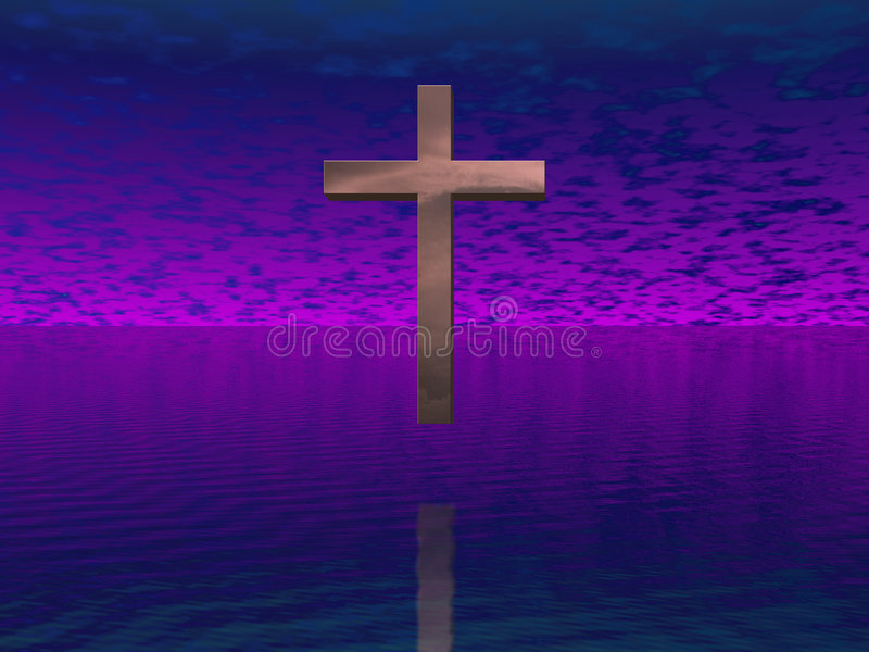 Cross in purple sky royalty free illustration