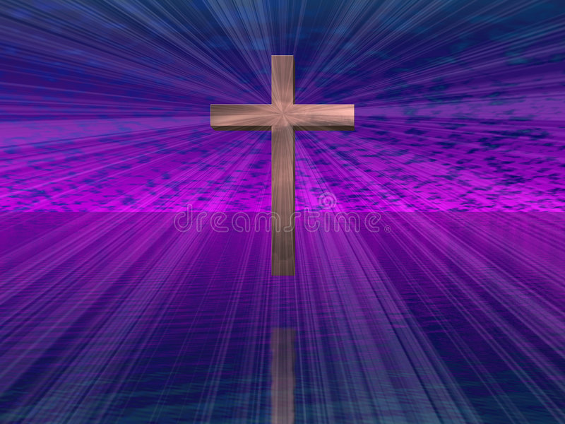 Cross in purple sky royalty free stock photo