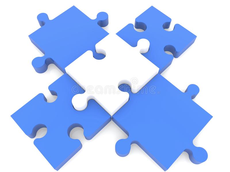 Download Cross Of Puzzle Pieces In Blue And White Colors Stock Illustration