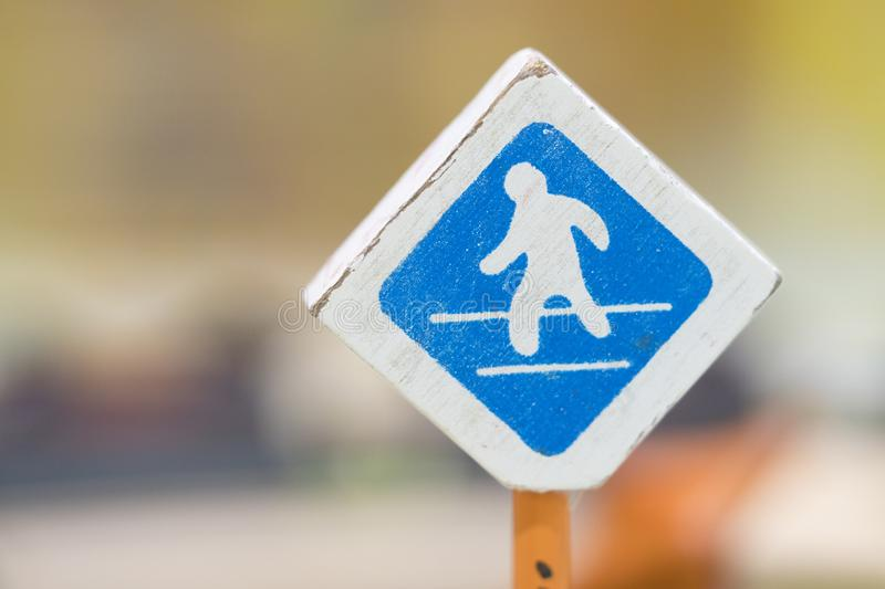 Cross road sign - Traffic sigh toy, Play set Educational toys for preschool indoor playground(selective focus) stock photography