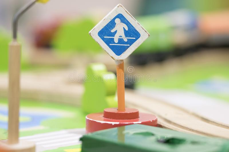 Cross road sign - Traffic sigh toy, Play set Educational toys for preschool indoor playground(selective focus) stock images