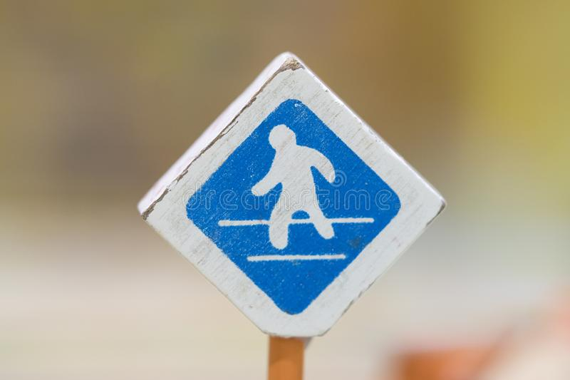 Cross road sign - Traffic sigh toy, Play set Educational toys for preschool indoor playground(selective focus) royalty free stock photography