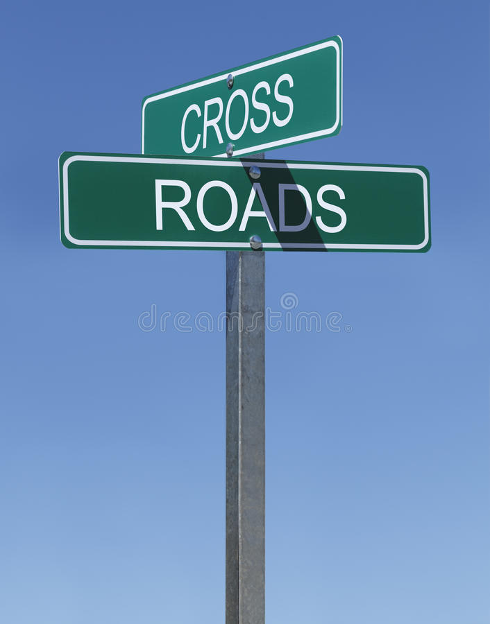 Cross Roads Sign Stock Photo