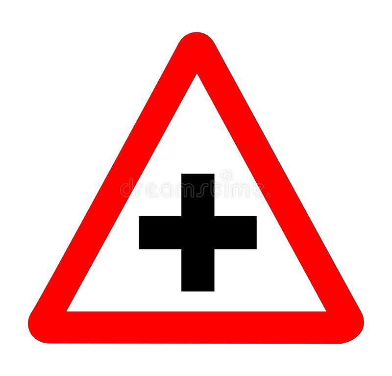 Cross Roads Traffic Sign Isolated. The traditional `CROSS ROADS` triangle, traffic sign isolated on a white background stock illustration