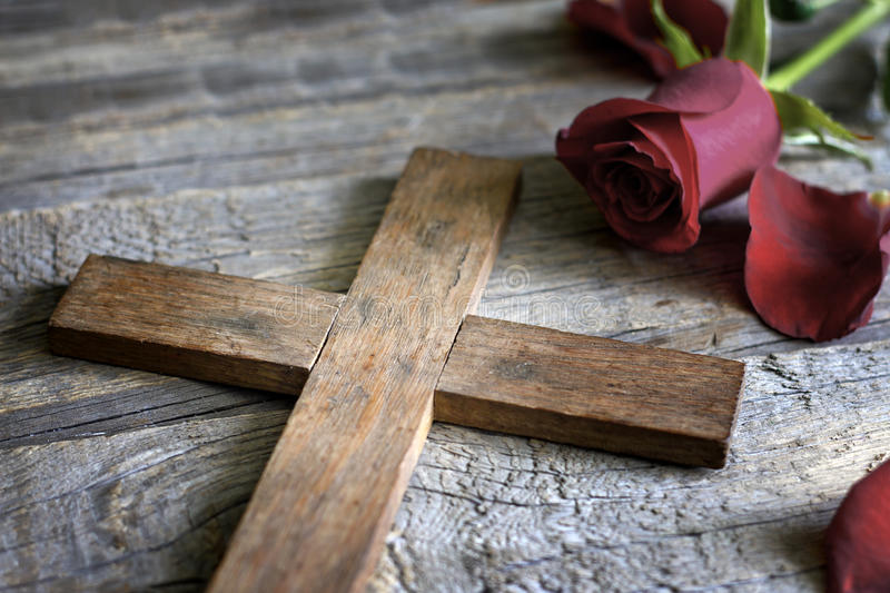 Cross and rose religion sign abstract concept stock images