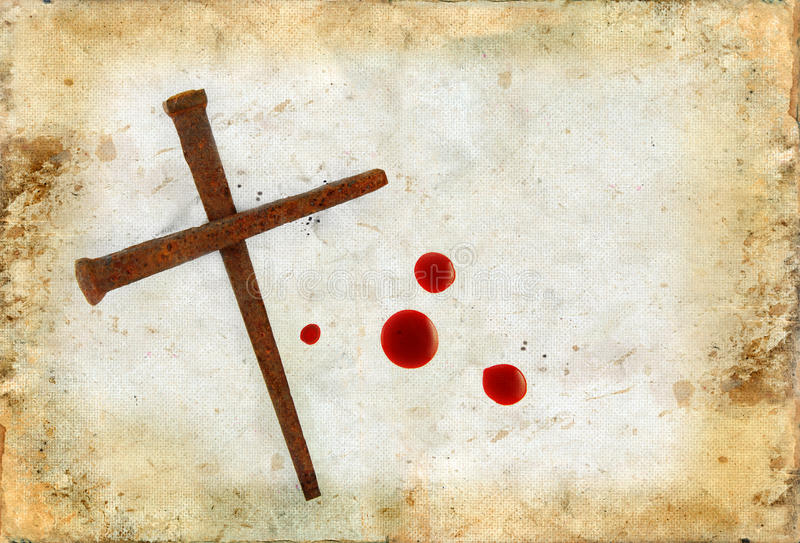 Download Cross Of Rusty Nails And Blood Drops On Grunge Stock Photos - Image: 18324093