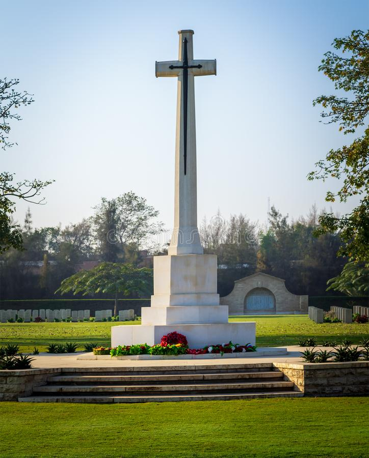 The Cross of Sacrifice memorial, Heliopolis Commonwealth War Cemetery. Cross of Sacrifice memorial at the Heliopolis Commonwealth War Cemetery, Cairo, Egypt. the royalty free stock photo