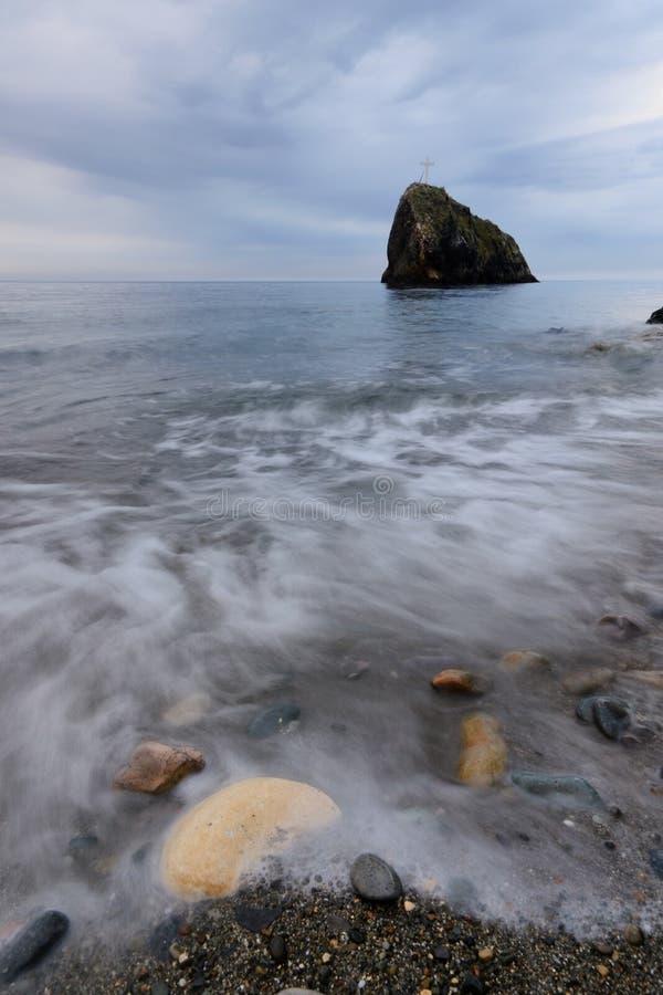 Cross on the Saint George rock. Cape Fiolent, Crimea stock photos