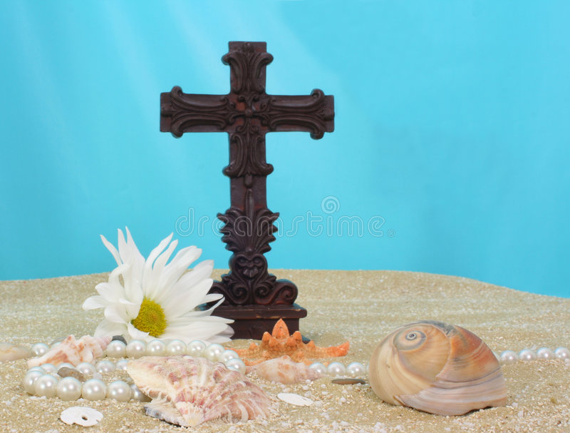 Cross on Sand royalty free stock photography
