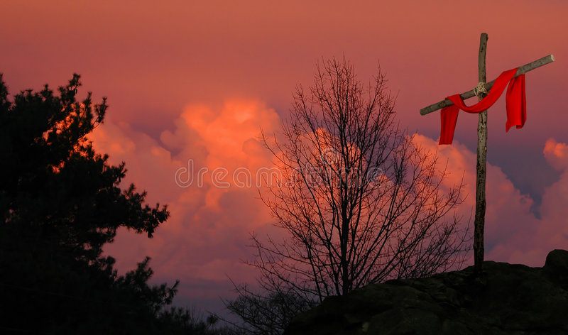 Cross and Scarlet Linen royalty free stock images