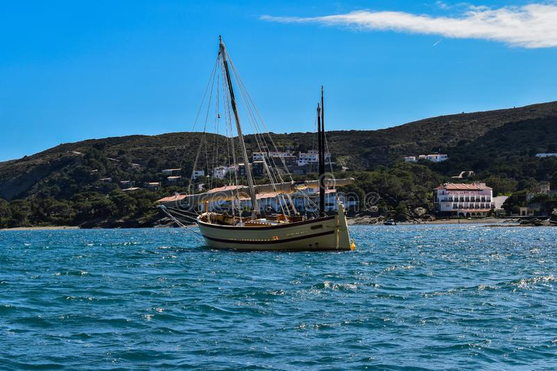 Cross The Sea. Boat, bluewatee, bluewater, sky, spain, espana stock images