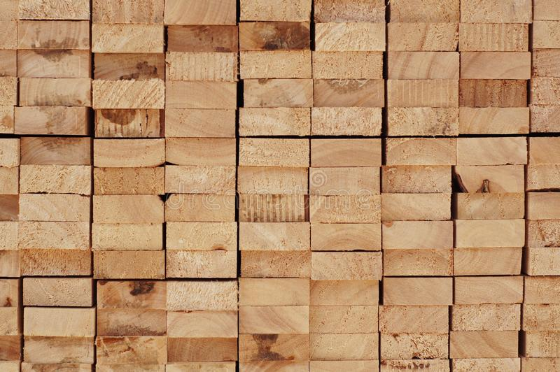 Cross section of arranged timber brown wood for backgrounds stock photo