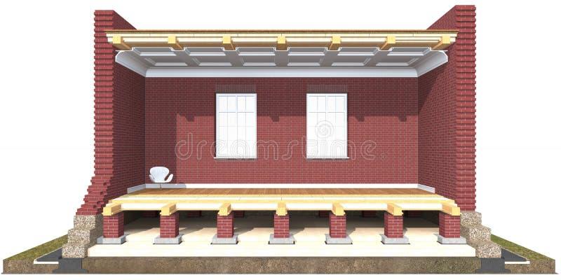 Cross section of brick house stock illustration