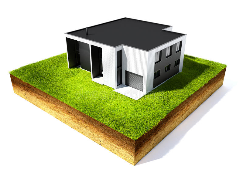 Cross section of ground. 3d illustration of cross section of ground and home with grass isolated on white vector illustration