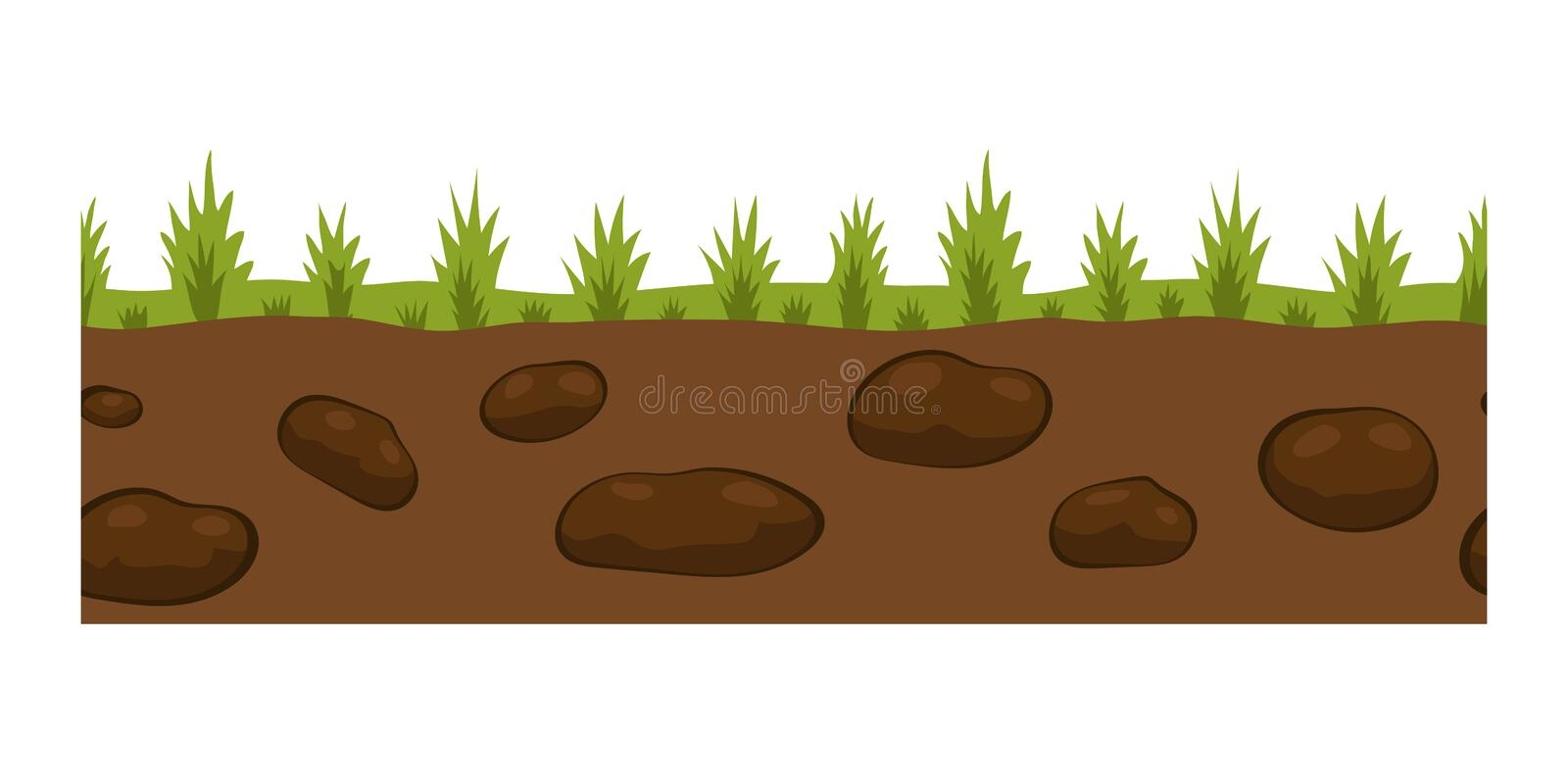 Cross section ground slice isolated some piece nature outdoor ecology underground and freestanding render garden natural stock illustration