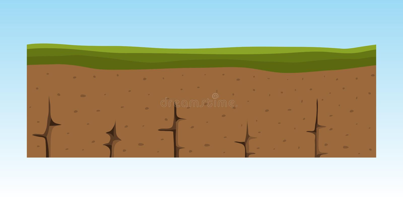 Cross section ground slice some piece nature outdoor ecology underground and freestanding render garden natural. Geologist earth vector illustration. Ecology vector illustration