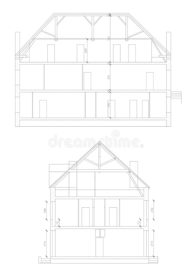Cross section made through a house in CAD royalty free stock image