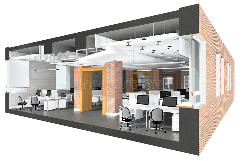 Cross section of the office space stock image