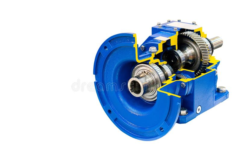 Cross section show detail cogs and other inside gearbox for industrial isolated on white background with clipping path stock photo