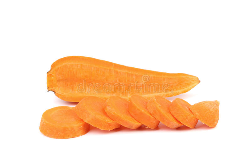 Cross section and slices of Fresh Carrot. stock image