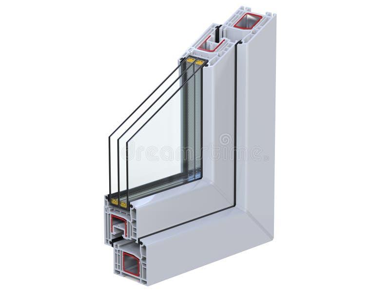 Pvc Window Section : Cross section through a window pvc profile d render