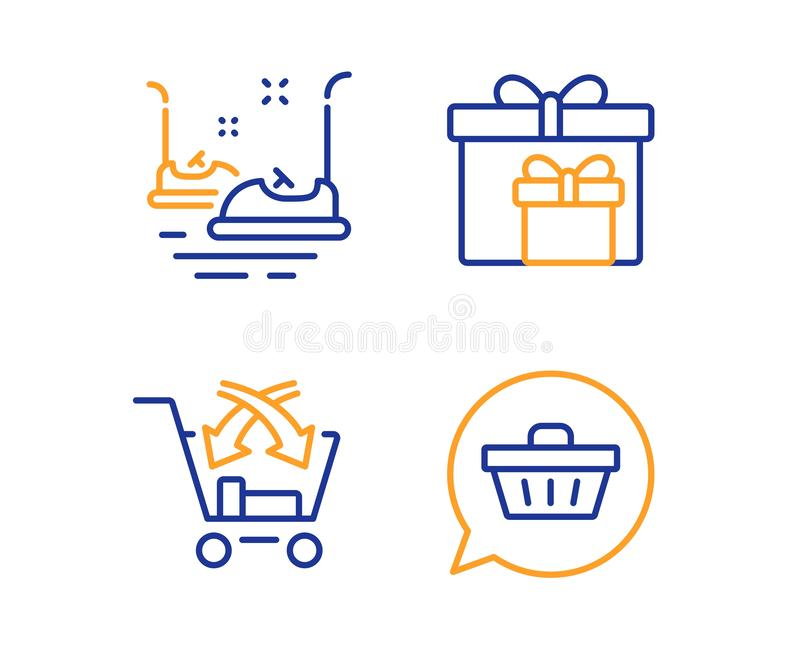 Cross sell, Bumper cars and Delivery boxes icons set. Shopping cart sign. Vector royalty free illustration