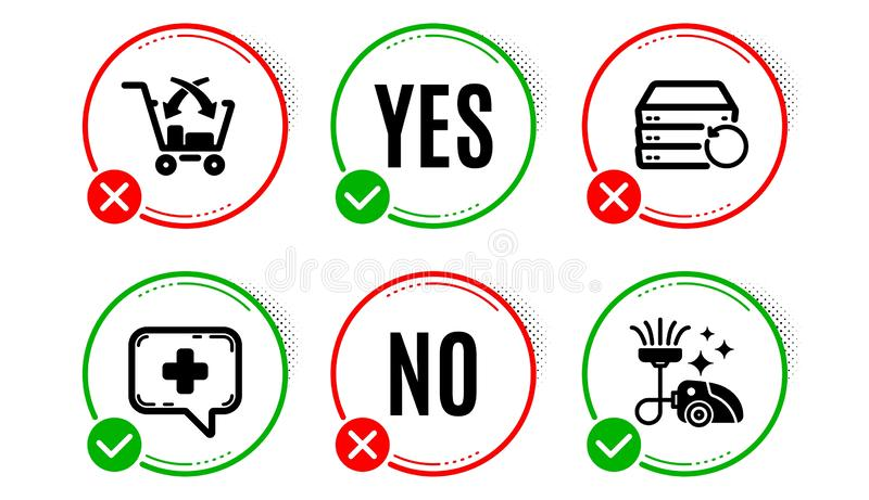Cross sell, Recovery server and Medical chat icons set. Vacuum cleaner sign. Vector. Cross sell, Recovery server and Medical chat icons simple set. Yes no check stock illustration