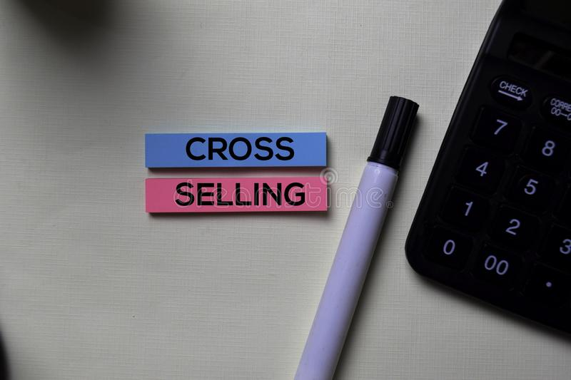 Cross-Selling text on sticky notes isolated on office desk stock photography