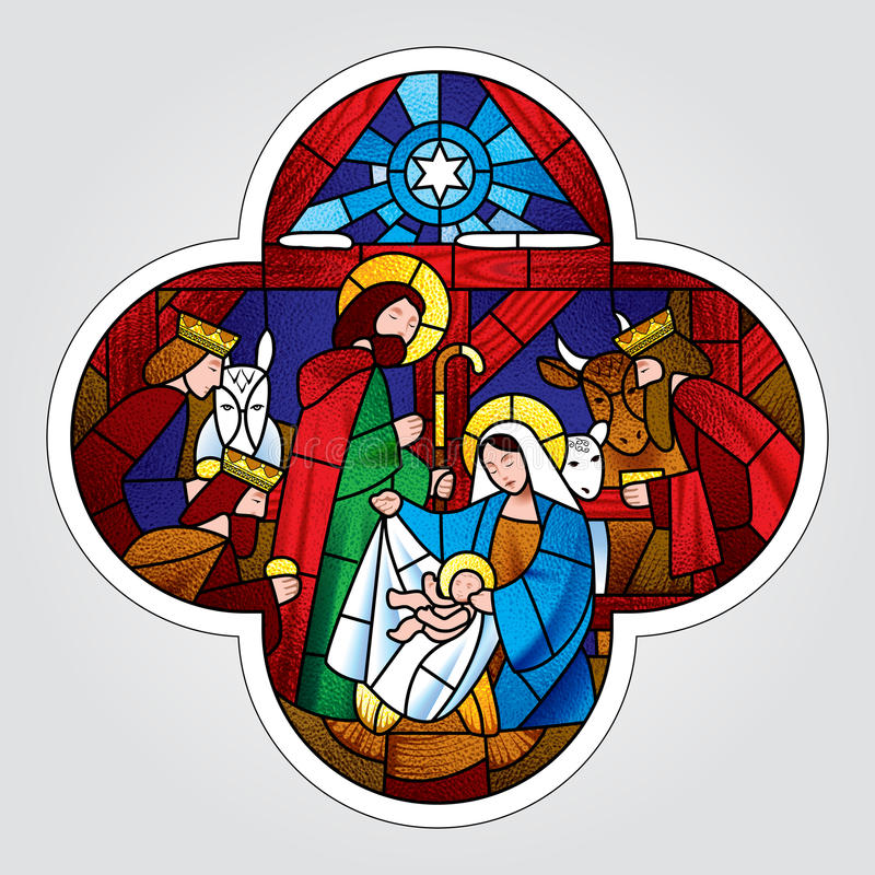 Cross shape with the Christmas and Adoration of the Magi scene stock illustration