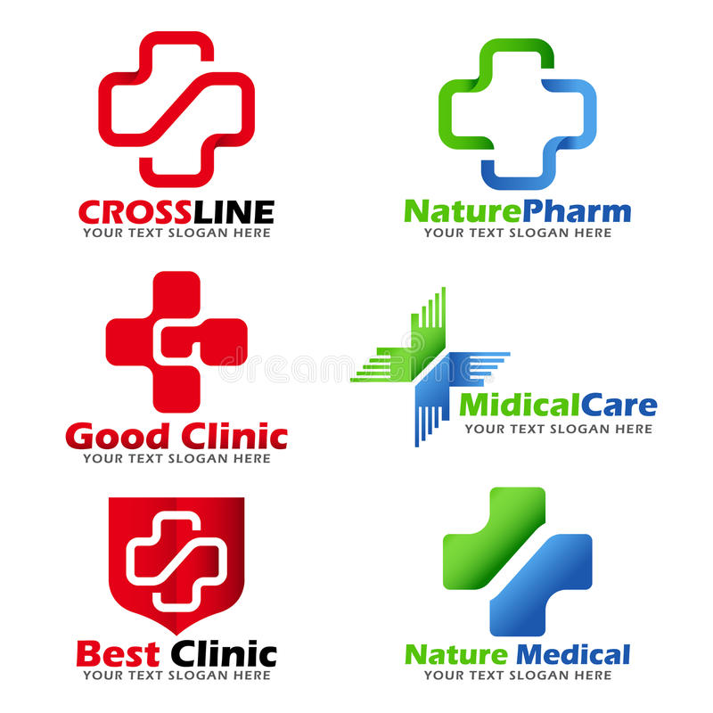 Cross sign for Medical clinic and Natural care logo vector set design royalty free illustration