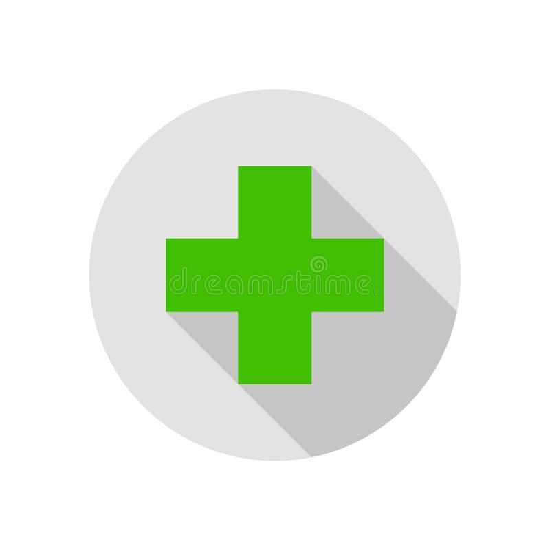 Cross Sign Round Flat Medical Icon Illustration vector illustration