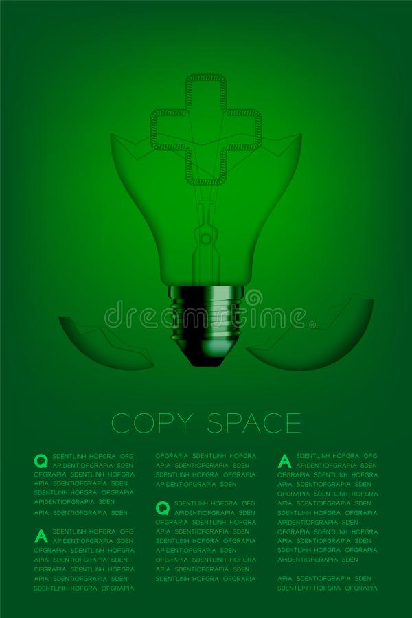 Cross sign shape broken Incandescent light bulb switch off set Medical organization concept, illustration isolated glow in green. Gradient background, with copy stock illustration