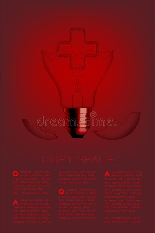 Cross sign shape broken Incandescent light bulb switch off set Medical organization concept, illustration isolated glow in red. Gradient background, with copy stock illustration