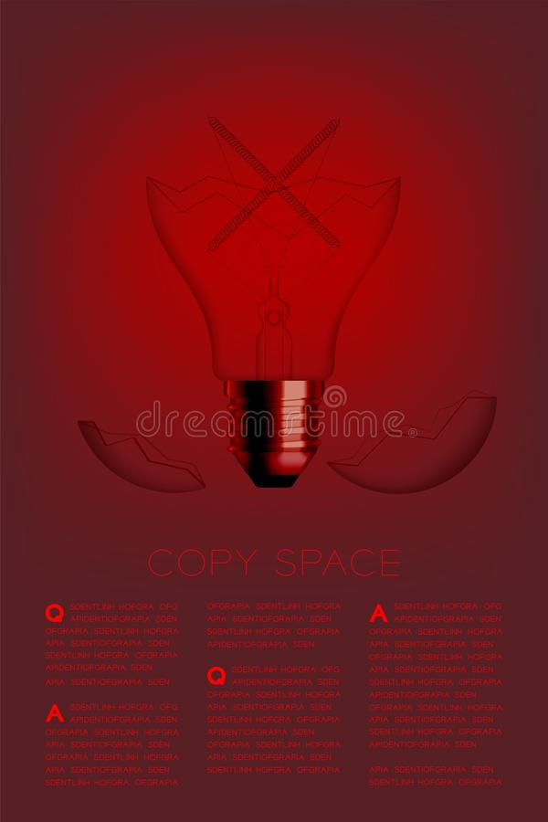 Cross sign shape broken Incandescent light bulb switch off set Wrong idea concept, illustration isolated glow in red gradient. Background, with copy space vector illustration