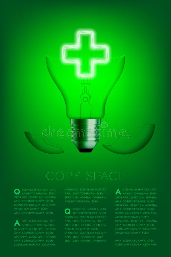 Cross sign shape broken Incandescent light bulb switch on set Medical organization concept, illustration isolated glow in green. Gradient background, with copy stock illustration